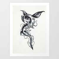 hydra Art Prints featuring Hydra by STiCK MONSTER iNK