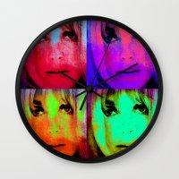 kris tate Wall Clocks featuring Sharon Tate by Joe Ganech