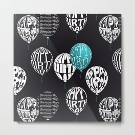 Happy Ballons Black&Blue Metal Print