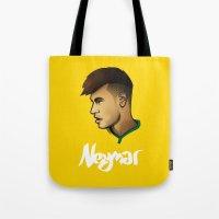 neymar Tote Bags featuring Neymar Brazil by Dave Flanagan