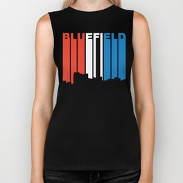 Red White And Blue Bluefield West Virginia Skyline Biker Tank