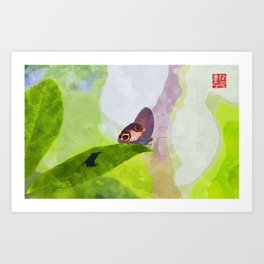 Watercolor of Insect Janome Chow Leaf Rest Rainforest Art Print
