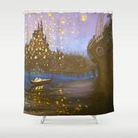 tangled Shower Curtains featuring Tangled by carotoki