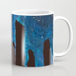 Outlander Craigh Na Dun Standing Stones Watercolor Painting with milky way galaxy Coffee Mug