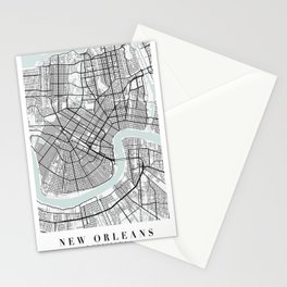 New Orleans Louisiana Blue Water Street Map Stationery Cards