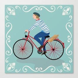 Vintage Style Frenchman on a Bicycle with Baguette Art Print Canvas Print
