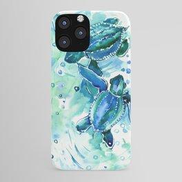 Turquoise Blue Sea Turtles in Ocean iPhone Case