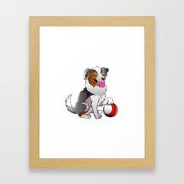 Cartoon Dog with ball Framed Art Print