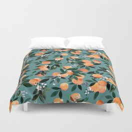 Dear Clementine - oranges teal by Crystal Walen Duvet Cover