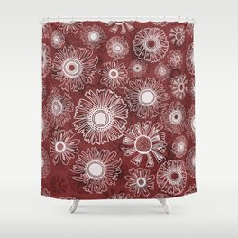 Fall flowers - red Shower Curtain