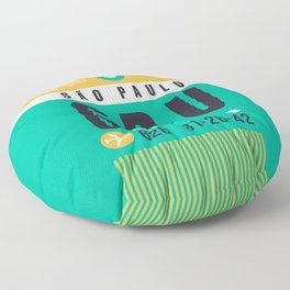 Baggage Tag A - GRU Sao Paulo Guarulhos Brazil Floor Pillow