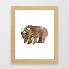 Bear with flower boa Framed Art Print