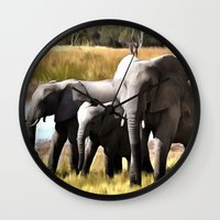 elephants Wall Clocks featuring Elephants by Regan's World