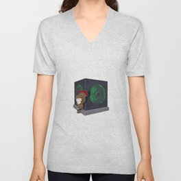 Waiting for a mad girl with red hair and her doctor Unisex V-Neck
