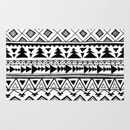 Tribal bohemian Mexican Aztec Style Pattern Doodle Rug