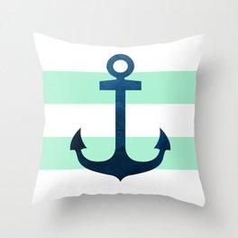 Anchor on Mint Stripes Throw Pillow