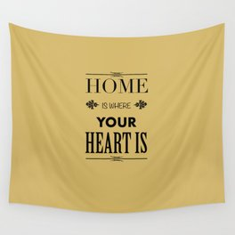 Home is Where - Typography brown Wall Tapestry