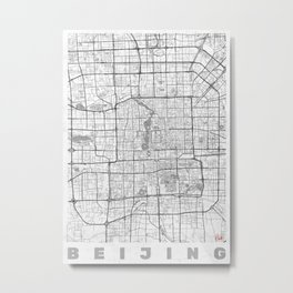 Beijing Map Line Metal Print
