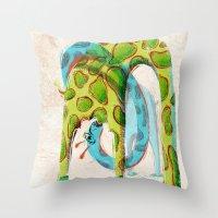 giraffes Throw Pillows featuring Giraffes by Orenso
