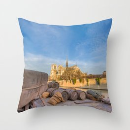 Docks of Notre Dame in Paris Throw Pillow