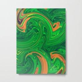 green orange and brown curly painting Metal Print