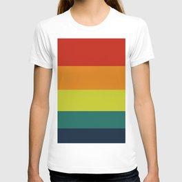 Vintage Bicycle Colorful Geometric Pattern Colour Block Stripes T-shirt