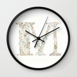 M of Leaves Wall Clock