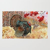 turkey Area & Throw Rugs featuring Woodland Turkey by Edith Jackson-Designs