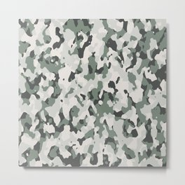 Army Camouflage Pattern Snowy Forest Metal Print