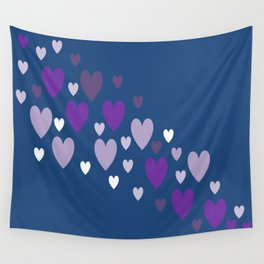 Asymmetrical hearts (blue, lavender & purple) Wall Tapestry
