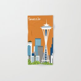 Seattle, Washington - Skyline Illustration by Loose Petals Hand & Bath Towel