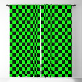 Lime Green and Black Checkerboard Blackout Curtain