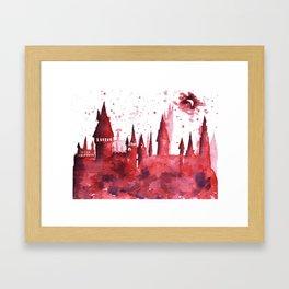 Hogwarts Watercolor Silhouette Framed Art Print