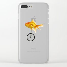 unicycle goldfish 02 Clear iPhone Case
