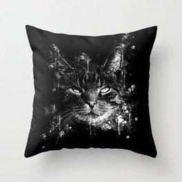 cat eyes splatter watercolor black white Throw Pillow