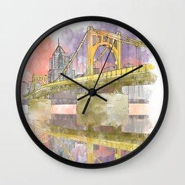 Pittsburgh Sister Bridge at Sunset Wall Clock