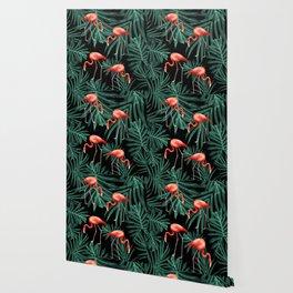 Summer Flamingo Jungle Night Vibes #2 #tropical #decor #art #society6 Wallpaper