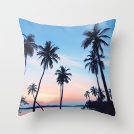Palms Beach Sunrise Throw Pillow