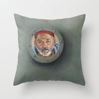 wes anderson Throw Pillows featuring Bill Murray / Steve Zissou / Wes Anderson  by Heather Buchanan