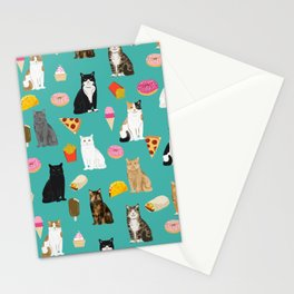 Cat breeds junk foods ice cream pizza tacos donuts purritos feline fans gifts Stationery Cards