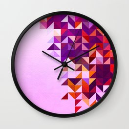 Colourful and Vibrant Geometric Nature on Ombre Pink Wall Clock