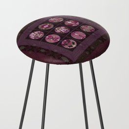 Red Shiso Positive Messages Quilt Art Counter Stool