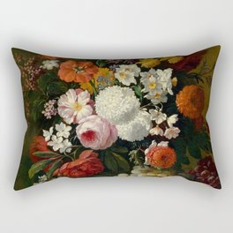 "Philip van Kouwenbergh ""Still life of flowers with roses, peonies, hollyhock, tulips, grapes..."" Rectangular Pillow"
