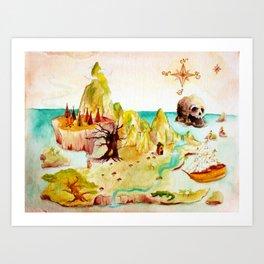 Peter Pan Map Art Print