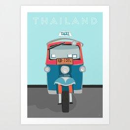 Thailand Tuk Tuk Taxi Travel Poster Art Print