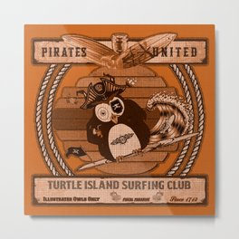 Pirates United V1 Orange Metal Print