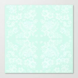 Celadon Mint Green Pastels Tropical Hibiscus Flowers Pattern Canvas Print