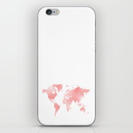 Pink Shiny Metal Foil Rose Gold World Map iPhone Skin