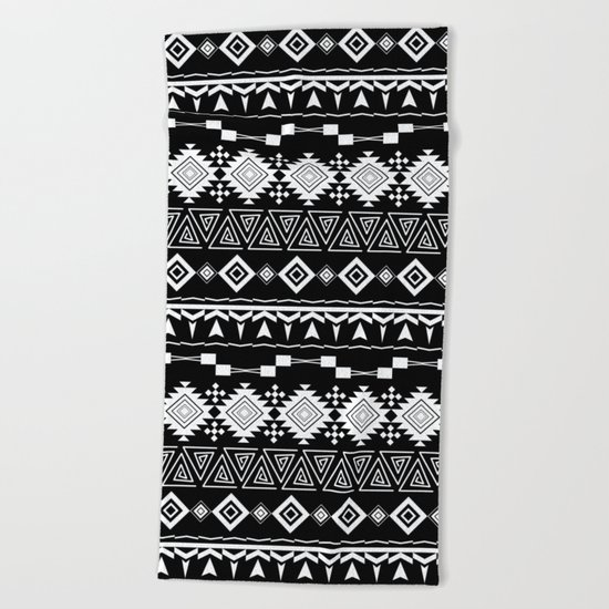 Aztec black and white pattern. Beach Towel