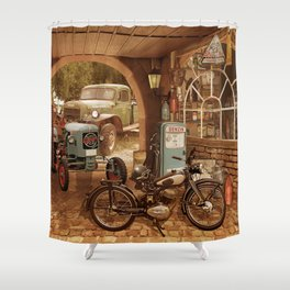 Nostalgic garage with tractor and motorcycle Shower Curtain